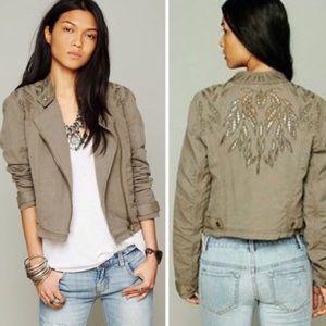 Free people cutwork linen blend motto jacket